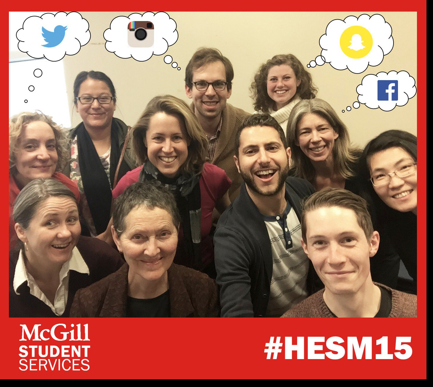 The @McGillU Student Services crew, thinking about social media innovations, thanks to #HESM15 #stuservsquad https://t.co/FxqJdiOSt2