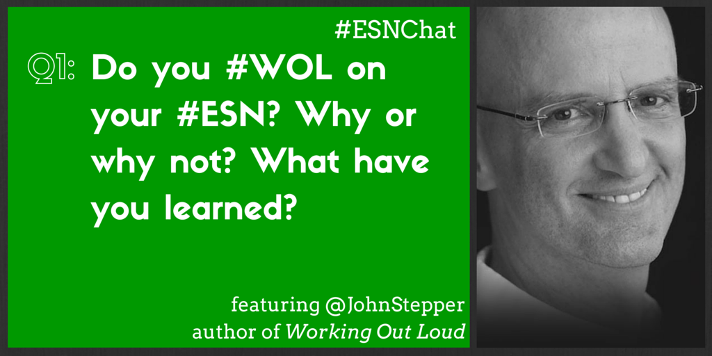 Q1: Do you #WOL on your #ESN? Why or why not? What have you learned? #ESNchat https://t.co/KmQ0Sj0A9T