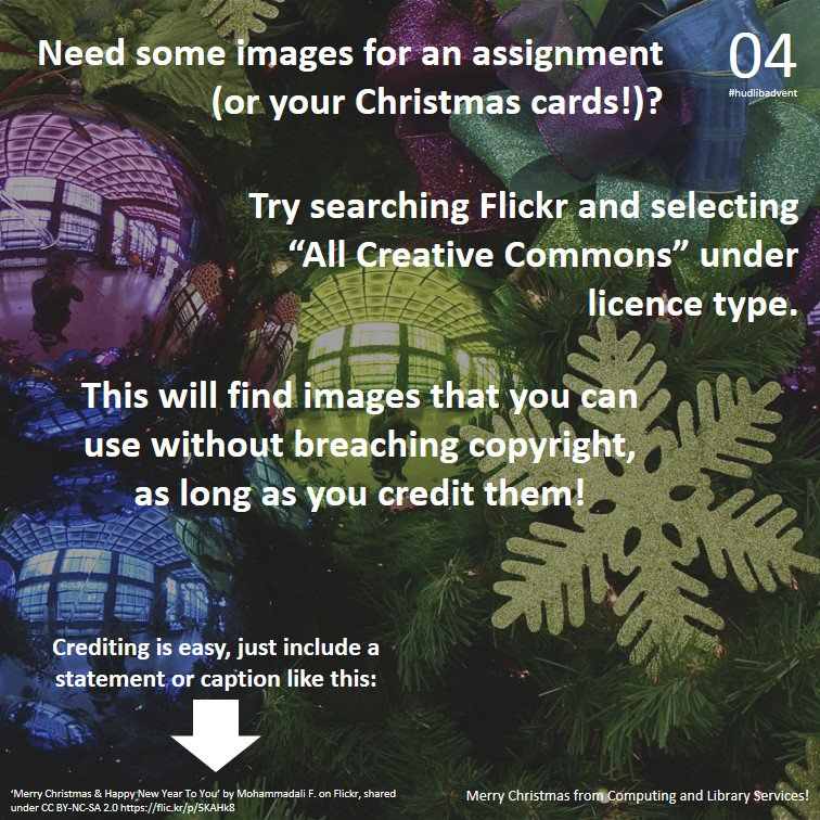 Need some festive photos, but worried about copyright? Our #hudlibadvent day 4 tip could help... https://t.co/s50VC9yd3k
