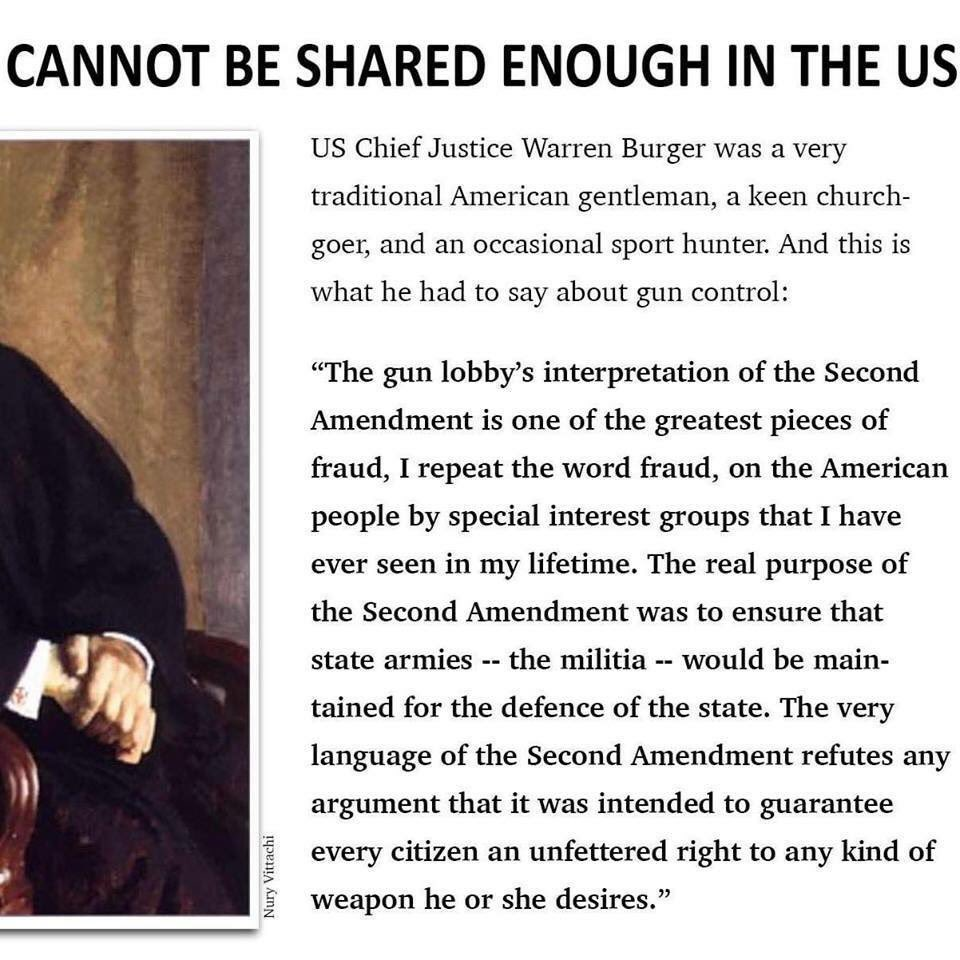 "2Nd Amendment Quotes Allie Bullivant On Twitter ""u.schief Justice Warren Burger On"