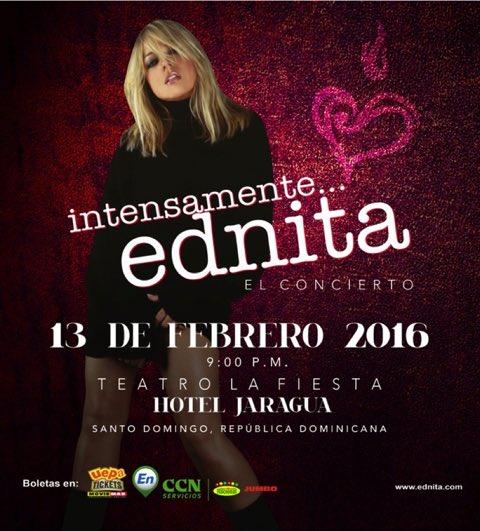 """Intensamente Ednita"", 13/02/16, 9pm,Teatro La Fiesta, Hotel Jaragua. Info y boletas: https://t.co/2xtH1Ov5Gq✨"