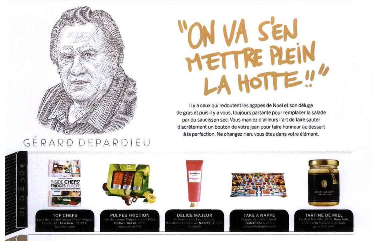 INSIDE CHEFS' FRIDGES = NUMBER ONE choice on Gerard Depardieu's Christmas wish list in this week's @StylistMagazine https://t.co/AVHvWzjwma