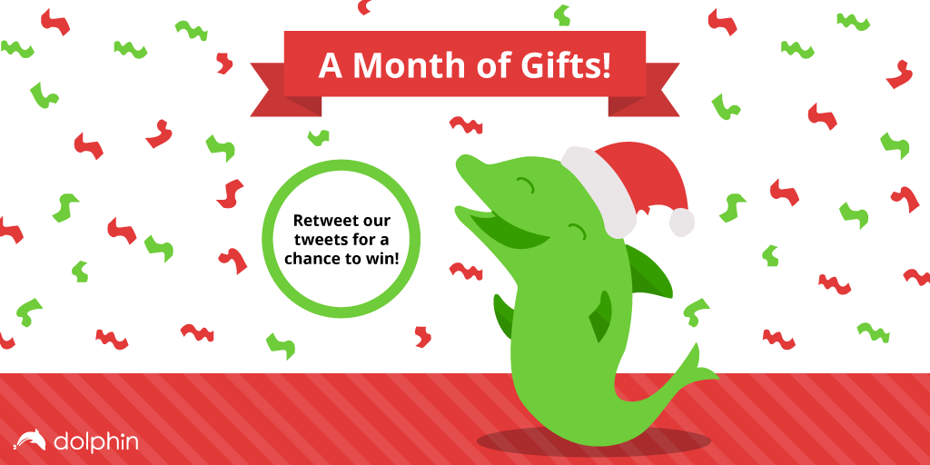 Dolphin is celebrating the holidays w/a month of gifts! Retweet our posts for a chance to win a swag pack at random! https://t.co/STcRf3wnal