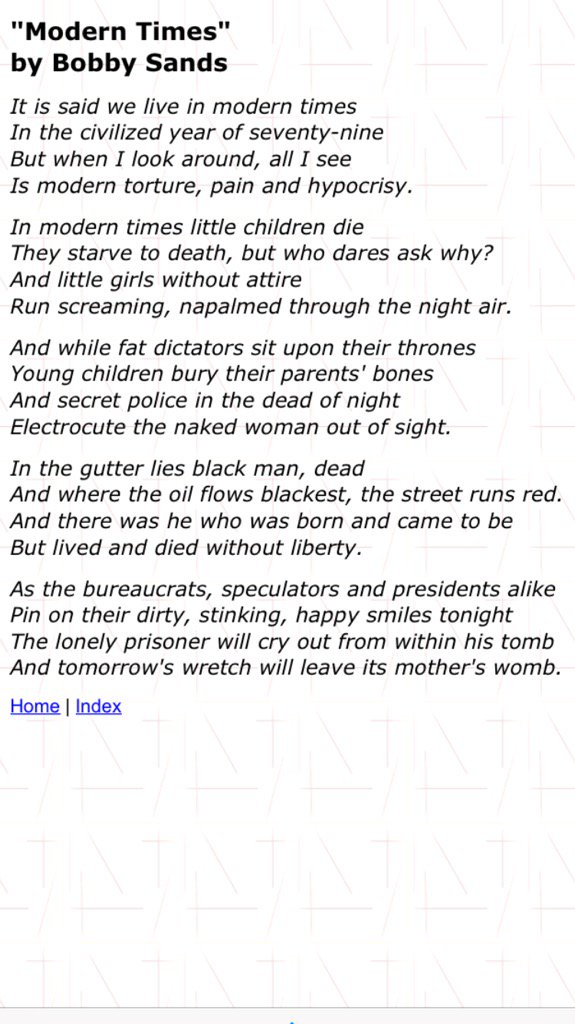 A poem by Bobby Sands MP, written while lying in the horrors of H-Block, as relevant now as then #DontBombSyria https://t.co/Rk05pz2YNh