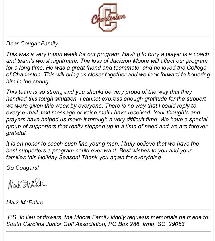 Cofc MenS Golf On Twitter Thank You Letter From Cofcmensgolf