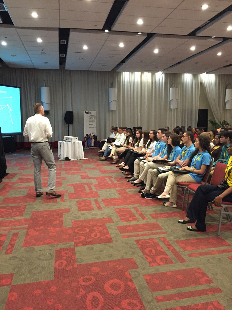 pam c johnson on twitter isaac clawson of fedex talking to students at the ja company of the year event in jamaica