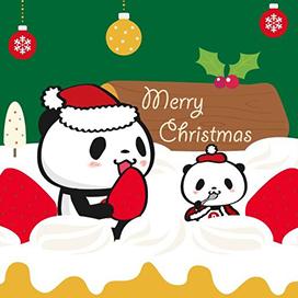サンタコスチュームのお買いものパンダと小パンダが、大きなクリスマスケーキの上で楽しんでます!夢のようなシチュエーション!二人は食べ切れるのか!