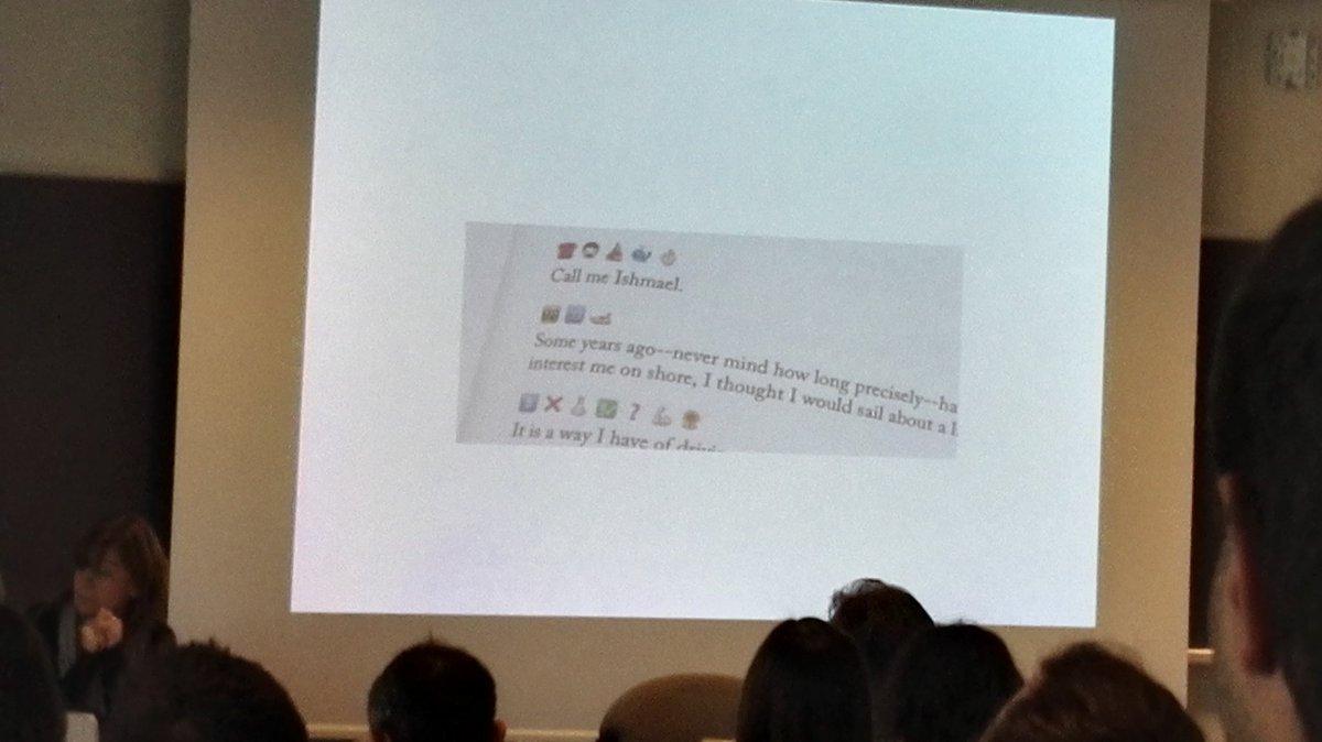 """""""Call me Ishmael"""" moby Dick tradotto in #emoji ... solo al #clic2015 #trento @clic2015 https://t.co/COW8g7oJ1I"""