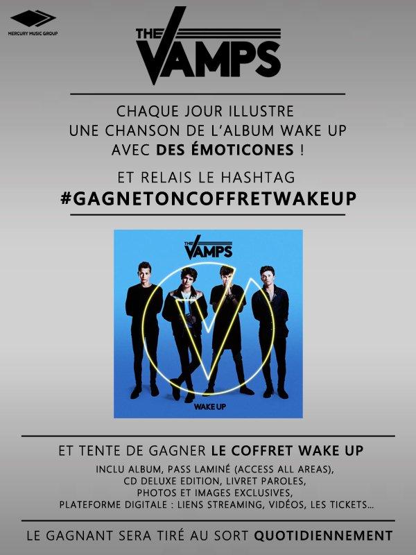 """CONCOURS ! Illustre """"Wake Up"""" en émoticônes et tente de gagner un coffret ! #gagnetoncoffretwakeup @TheVampsband https://t.co/fbU4XEicFx"""