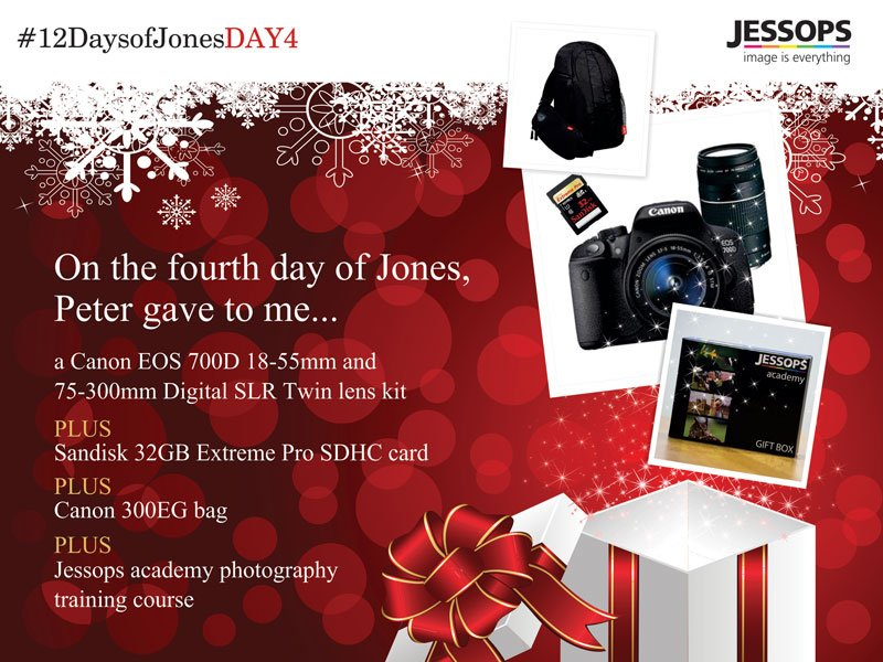 Today's prize is from @Jessops a Canon 700D Digital SLR Twin Lens Kit PLUS much more #12DaysofJonesDAY4 https://t.co/OQwEmLIewO