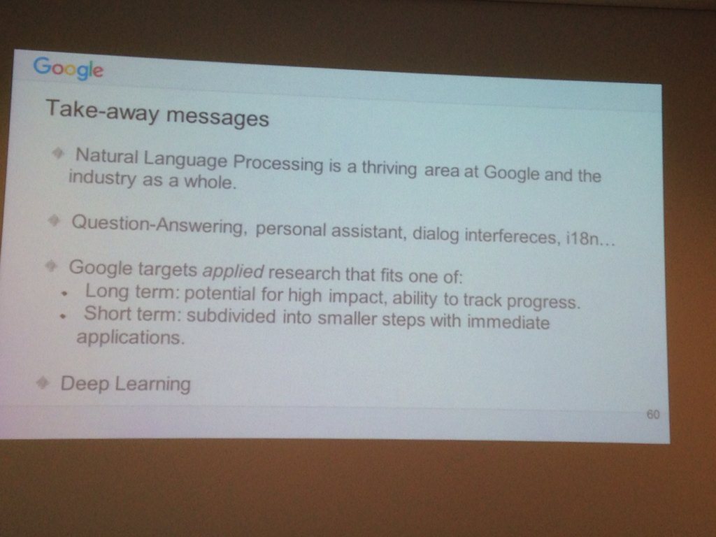 Conclusions by Alfonseca @googleresearch #clic2015 #DeepLearning https://t.co/BCj4IBm8eN