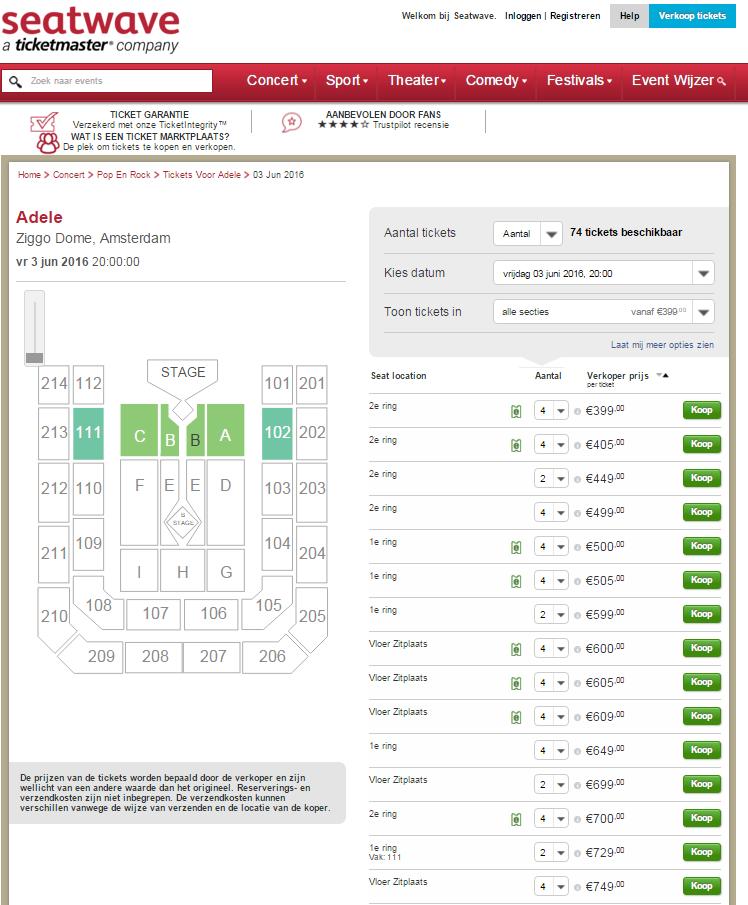 """Op #Seatwave, de """"marktplaats"""" van #Ticketmaster, al 74 kaarten voor Adele. Vanaf 400 euro op ring 2.. #ticketmaffia https://t.co/XEsVM7btSG"""