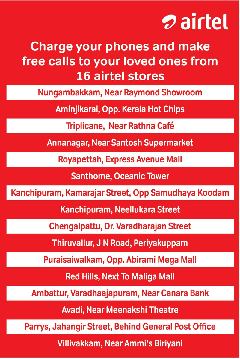 Citizens can charge their phones & make free calls from 16 @airtelindia stores. #ChennaiRainsHelp @TelecomTalk https://t.co/O0ogV8oE6q