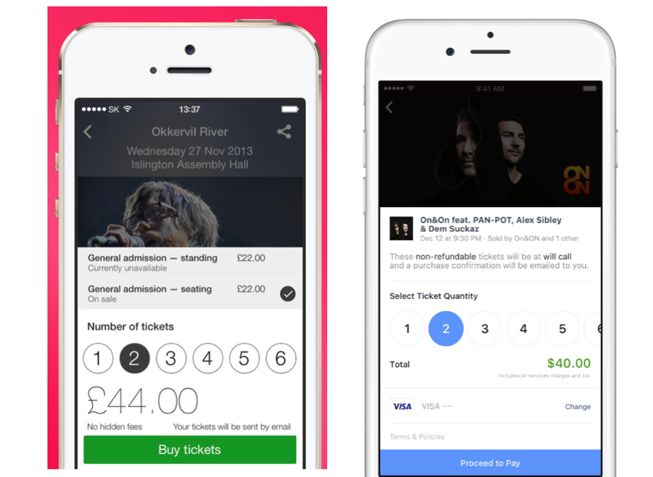 Songkick ticketing mobile UX, and Facebook's just launched ticketing UX... https://t.co/s8CgnSln0G