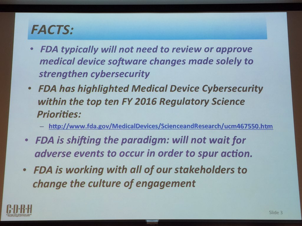 Again from @US_FDA You CAN patch med devices w/out triggering re-evaluation - Suzanne Schwartz #CyberMedRx https://t.co/RFDJGmGAJT