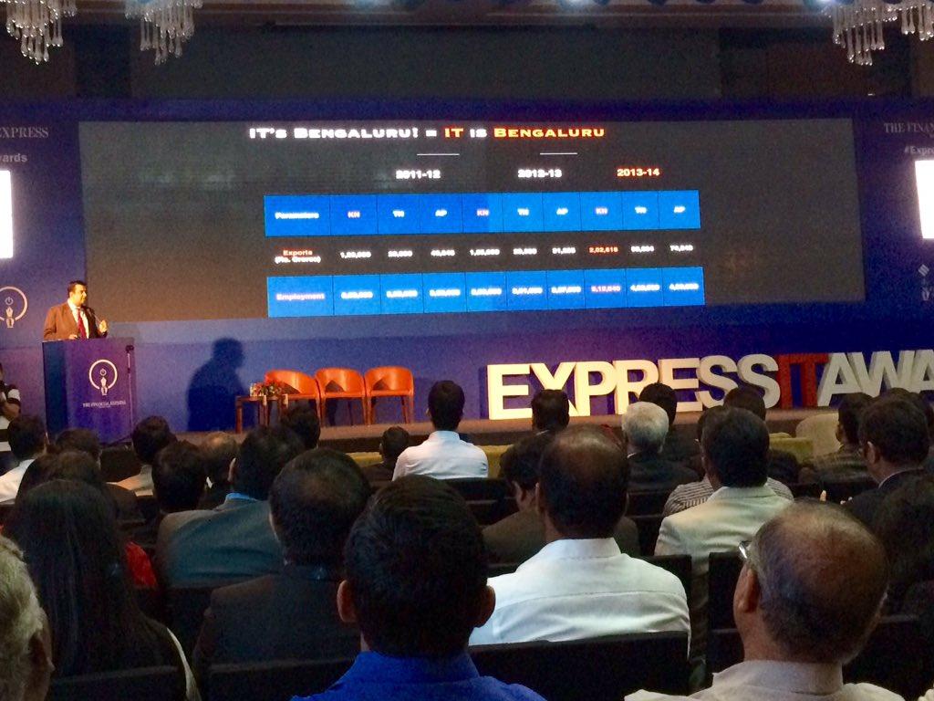 Over 2 Lakh Crores of IT export from KARNATAKA. More than AP & TN put together @SrivatsaKrishna #ExpressITAwards https://t.co/06AxnVSTZQ
