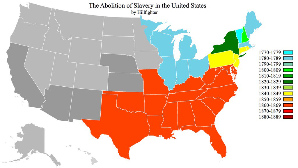 Hal Dockins On Twitter Map Showing Dates Slavery Was Abolished - Map of slavery in the us