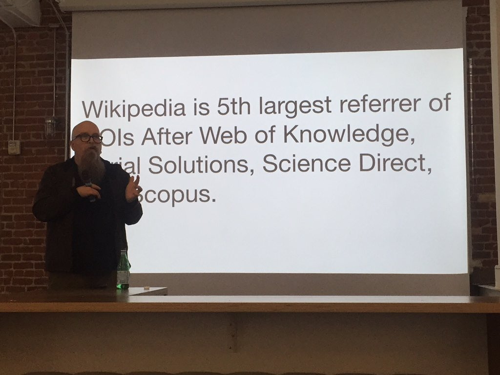 Finally a citable reference: Wikipedia is the 5th largest DOI referrer, ahead of any single publisher. #altmetrics https://t.co/v2sbR3wA52