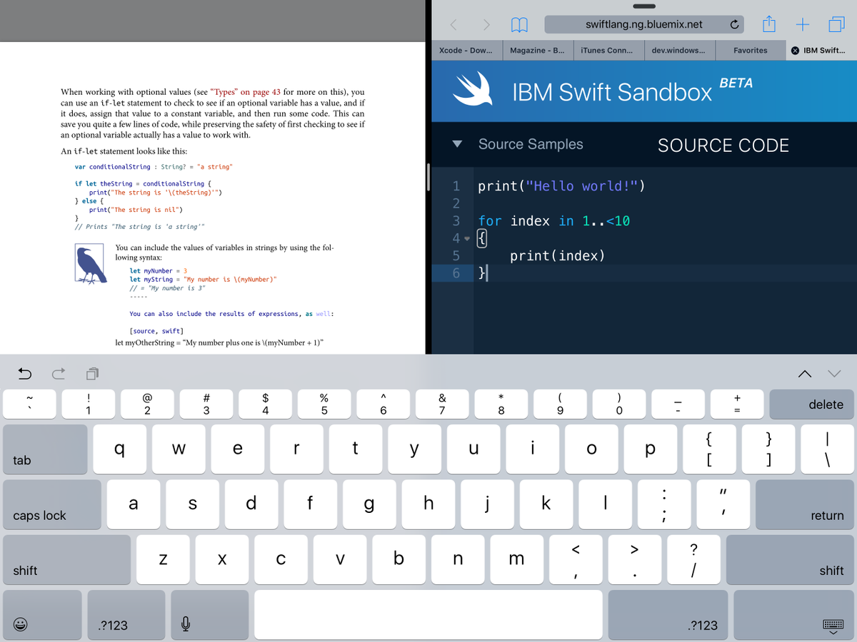 The IBM Swift sandbox makes this iPad a great learning device. https://t.co/e65DjJv0Sw