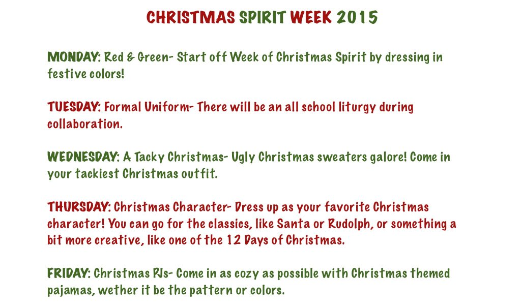 Mercy sbo on twitter quot christmas spirit week dress up days