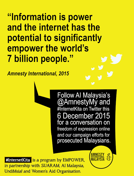 #InternetKita continues the #FOE theme today with @AmnestyMy - follow, comment, talk back! https://t.co/e4c1Cfczkd