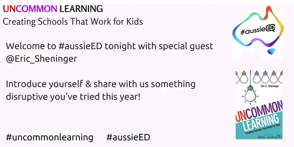 Welcome all to #aussieED w special guest @E_Sheninger joining us from Texas super early! Please introduce yourself👇🏻 https://t.co/G6KdtS9HYh