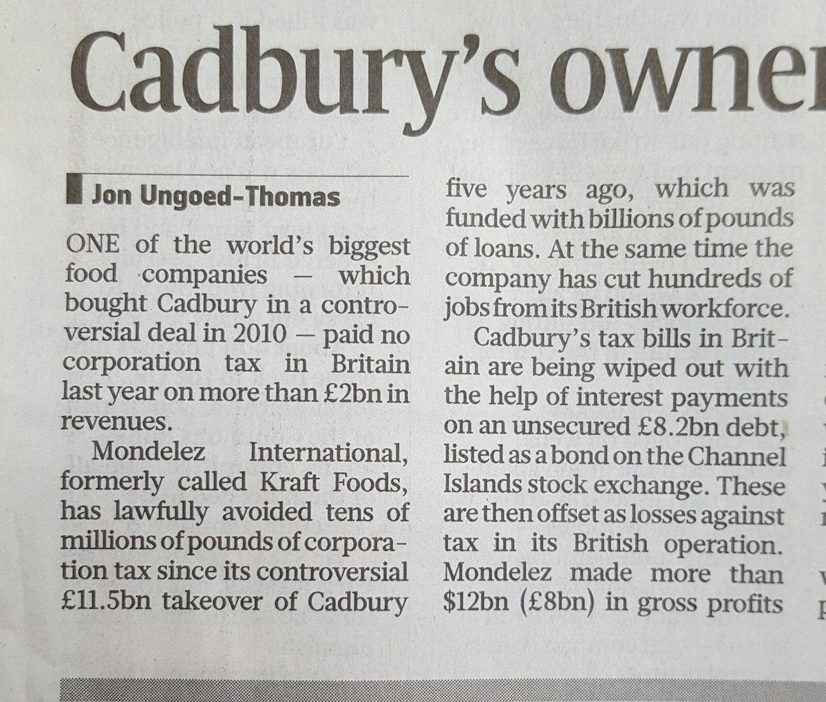 What has happened to Cadbury's is so sad. Once the very best of socially pioneering businesses. https://t.co/GEneaiCUrW