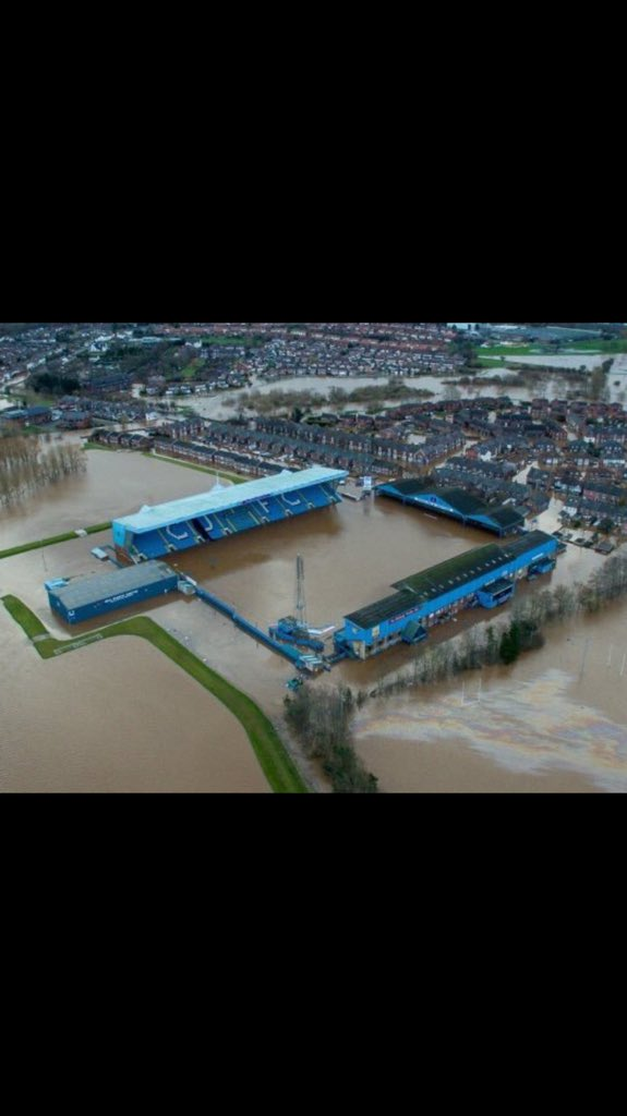 Flooded up to the top of the crossbar at Carlisle's Brunton Park. https://t.co/I6B2pI0IEo