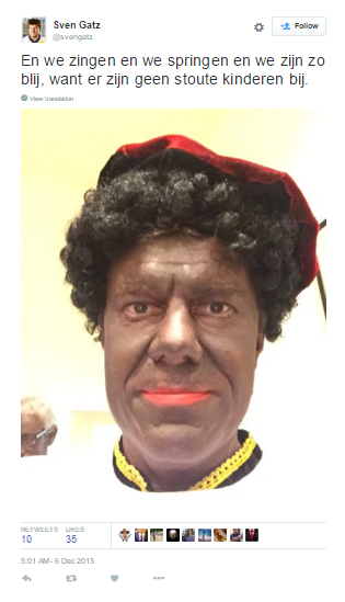 The Minister for Culture, Media and Youth in Belgium @svengatz as #zwartepiet (black face). https://t.co/b17qIxFsQl