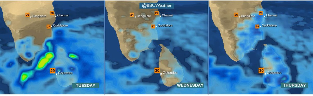 INDIA: Heavy showers and thunderstorms return to Chennai from Weds. #ChennaiFloods MattT