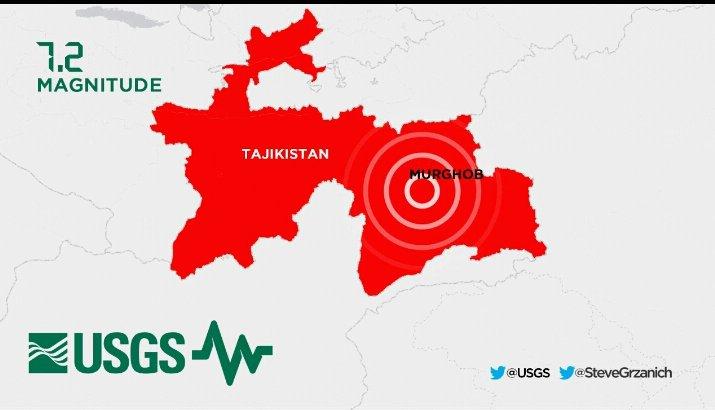 Violento Terremoto oggi in Tagikistan