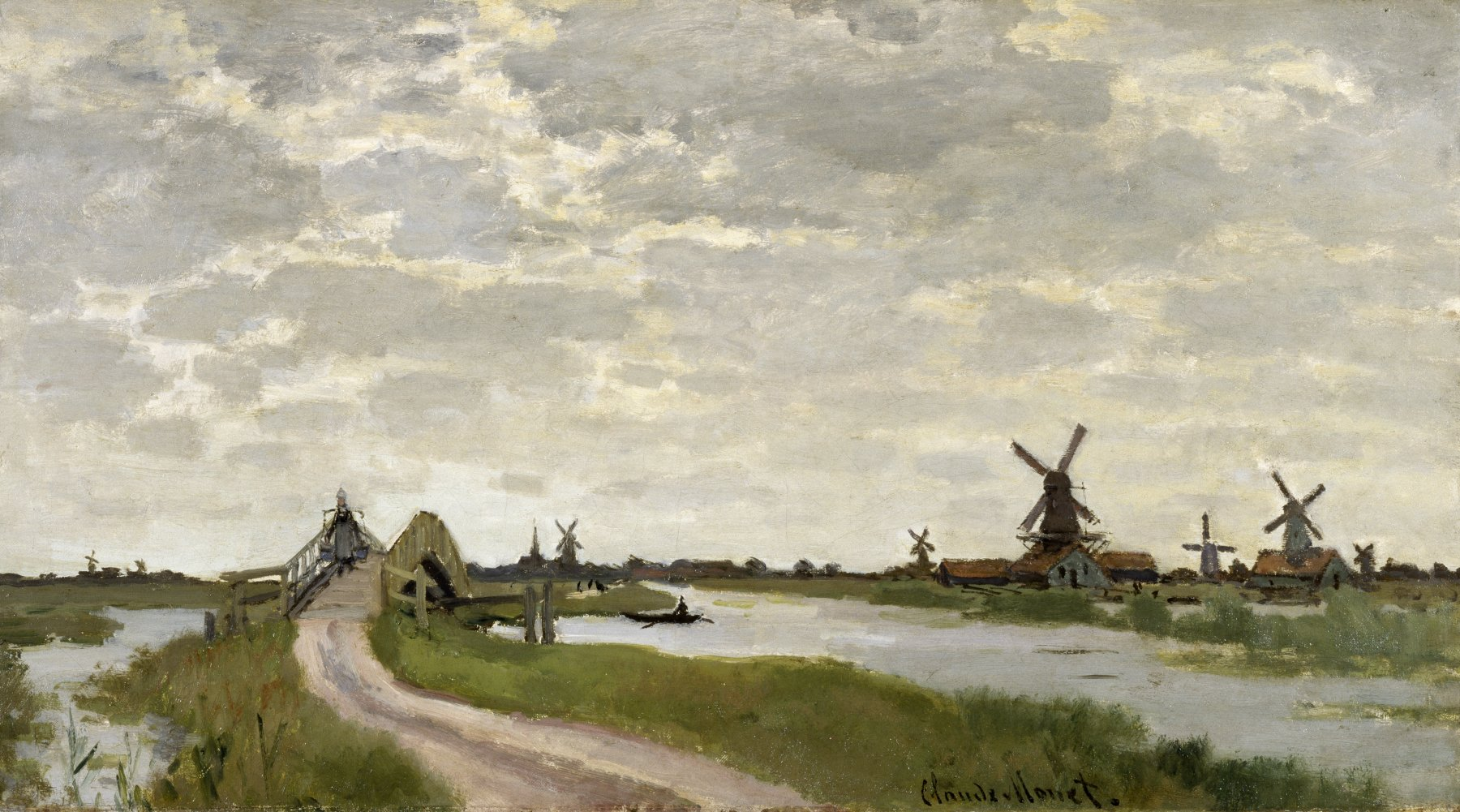 "Wim Heitinga on Twitter: ""#Painting ""Windmills Near Zaandam"", 1871 by Claude  Monet #Monet #Art https://t.co/B507N5FWbr"""