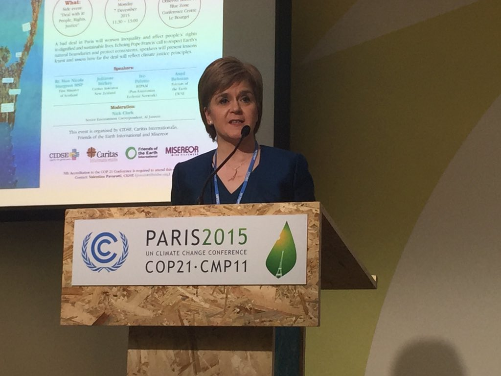Nicola Sturgeon at the Paris talks