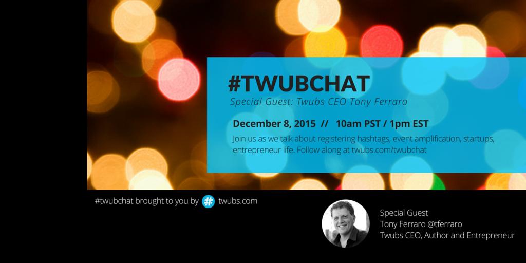 Join us TUE 12/8 for #twubchat. Meet our CEO Tony Ferraro subscribe -> https://t.co/mdU9nRqZYg #eventprofs #PCMA https://t.co/LpcBuz5kKk