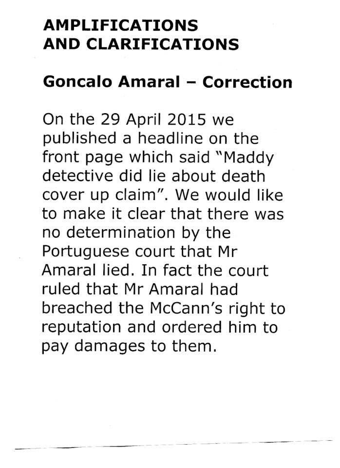 Daily Express issue correction re headline about Goncalo Amaral CVoHvpWW4AA7D86