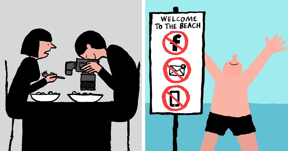 Ilustrace ukazují na zásadní změnu společnosti, aniž bychom si toho všimli. Jak závislost na technologiích přebírá naše životy?