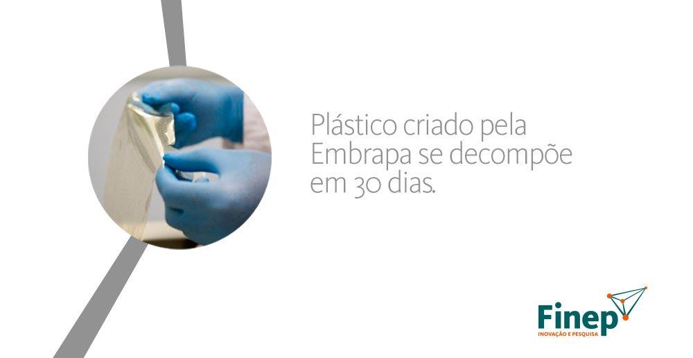 Embrapa desenvolve plástico que se decompõe em 30 dias. https://t.co/kF0ZhAOszB https://t.co/c3YupF3rqE