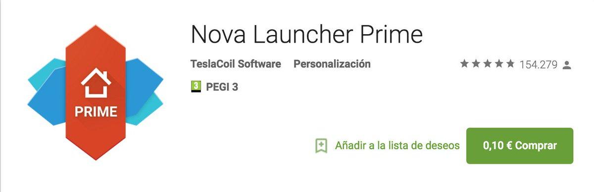 Nova Launcher Prime a 0.10€ (normalmente sobre 5€). Compra obligada. https://t.co/DsYNs5vCxY https://t.co/ZDw59U959R