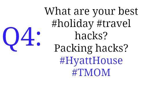 Q4: What are your best #holiday travel hacks? Packing hacks? #HyattHouse #TMOM #sponsored https://t.co/8ZGEgUG3OC