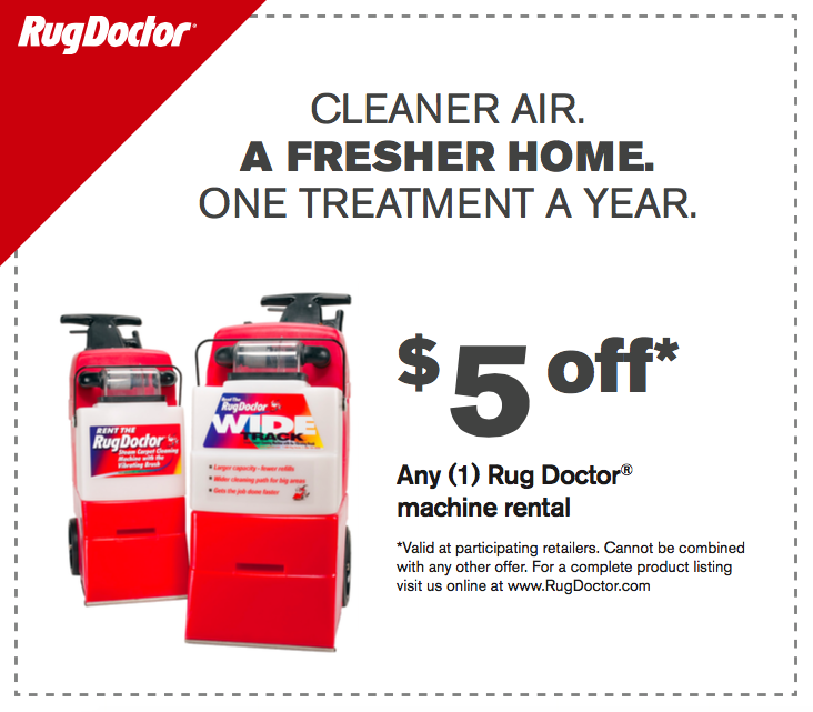 How to use a Rug Doctor coupon Rug Doctor offers savings through their Rental Coupon Locator. Simply enter your zip code to view coupons for your area. Additionally, you can give them your email address and they will send you future offers and promotions via email.