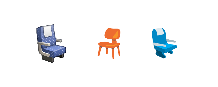 Emojipedia On Twitter Seat Emoji Showed As A Wooden Chair On Android Until Today Https T Co Wjp5givdtw Https T Co Pjxpgertp4