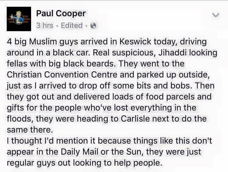 #YouAintNoMuslimBruv this what we #Muslims are  #keswickfloods #carlislefloods where are you  @DailyMailUK  @TheSun https://t.co/frkOOirEbY