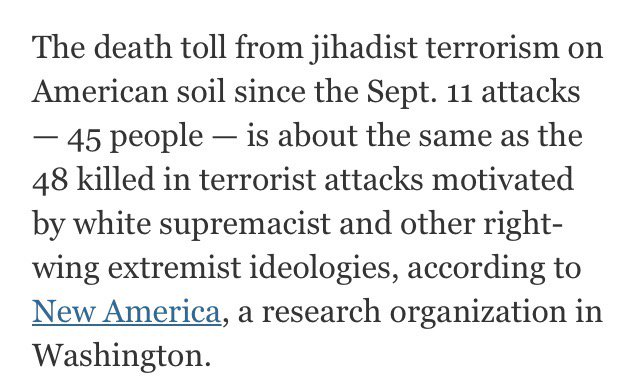 Telling detail from @nytimes story on deaths caused in US since 9/11 by jihadist terrorists https://t.co/WX3WLepLZB