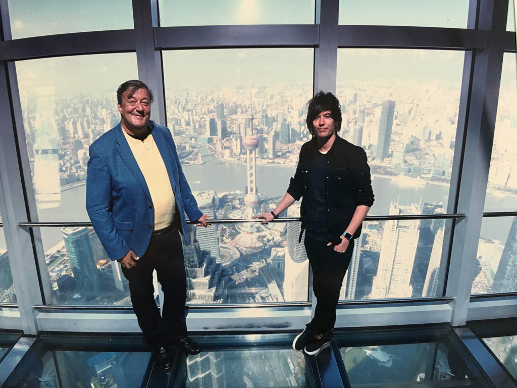 Here are @ElliottGSpencer, my tummy and I looking down over Pudong. https://t.co/D07CM0nnsK