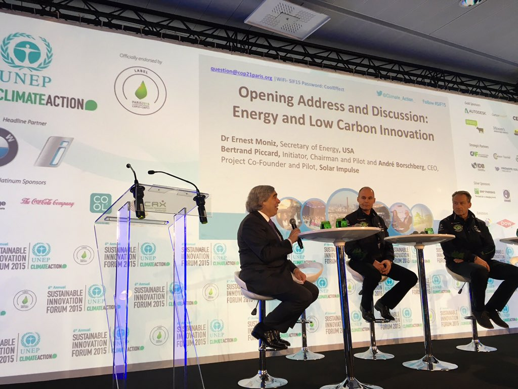 "@ErnestMoniz of @ENERGY: In US, 175K direct jobs in solar industry. ""We are committed to innovation"" #SIF15 https://t.co/7bJUX0NbRq @UNEP"