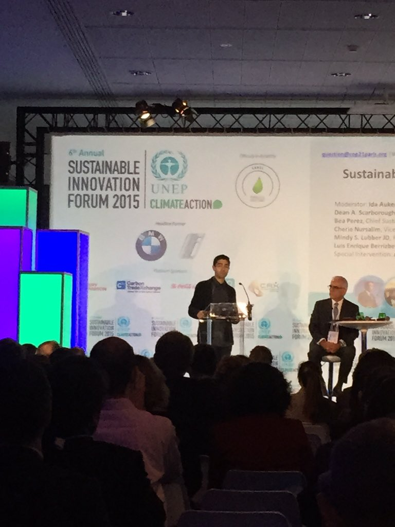 MT @StanKrpan: Businesses exploring circular economy principles re ocean & eWaste w @AdrianGrenier at #SIF15 #COP21 https://t.co/VMUbhjUtqC