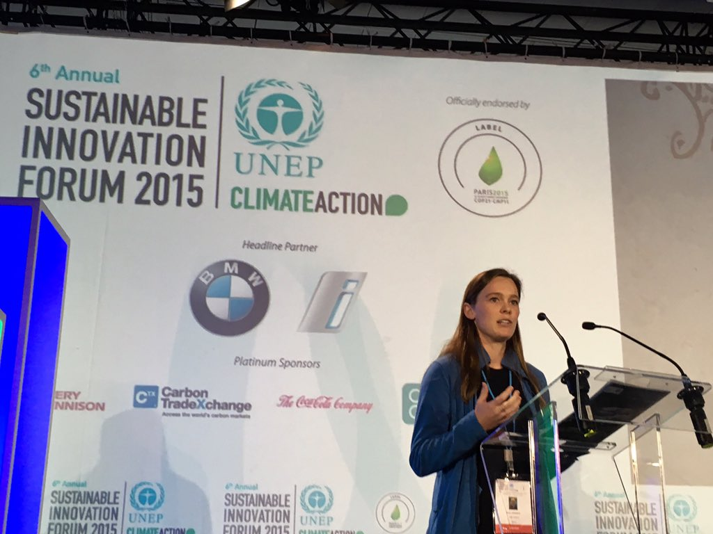 Skye Lawrence of Cool Effect calling on crowd to make immediate impact in reducing carbon #SIF15 https://t.co/VonhzYyfWA v @UNEP