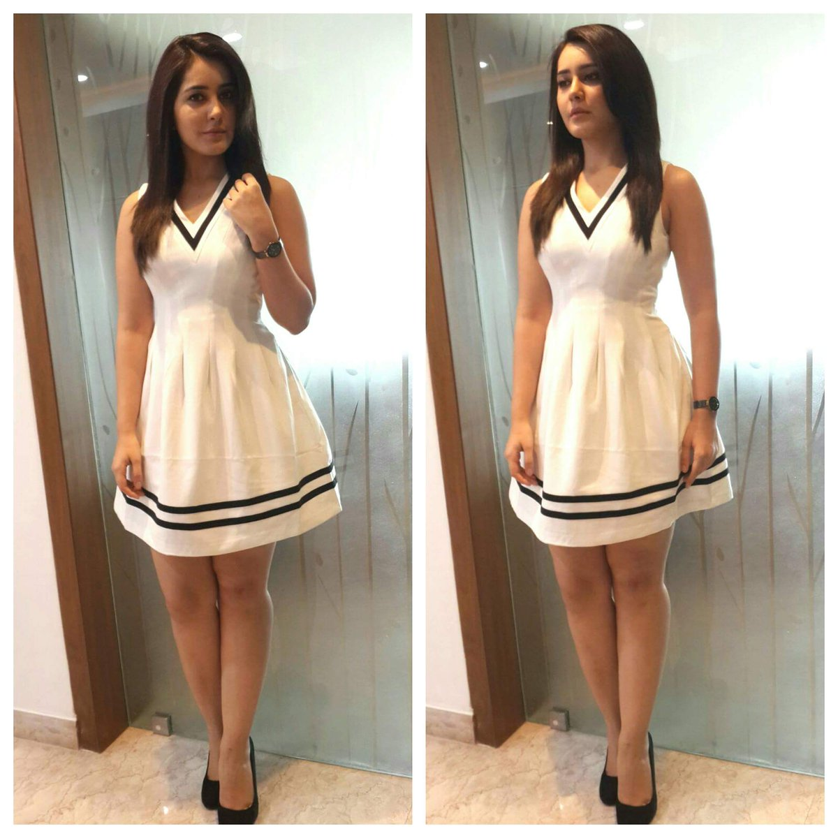 Raashi Khanna in a short white dress at the promotions for Bengal Tiger. Raashi Khanna too has shown her most sensual side in Bengal tiger.Hot raashi Khanna in Black, Raashi Khanna in Bengal tiger, Hot and sensual Raashi Khanna, Next top heroine Raashi Khanna,