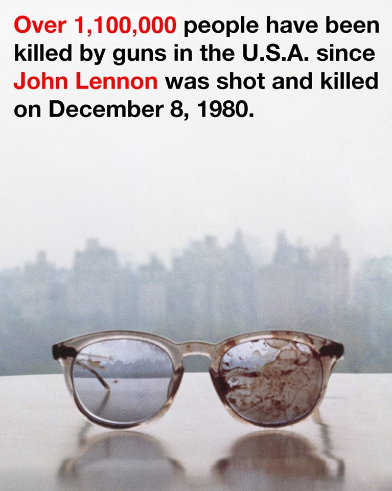 Over 1,100,000 people have been killed by guns in the USA since #JohnLennon was shot and killed on December 8, 1980 https://t.co/R7Kc0gNnwI
