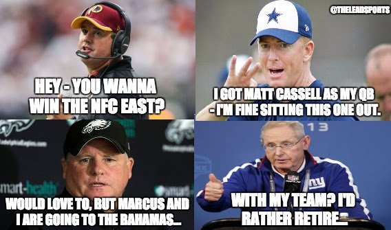 This picture from @theleadsports pretty much perfectly sums up the disaster that is the NFC East. https://t.co/dw7bY3TFKi